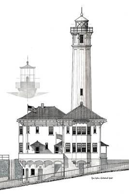 Alcatraz Island Lighthouses - Black And White Art Print by Gene Nelson