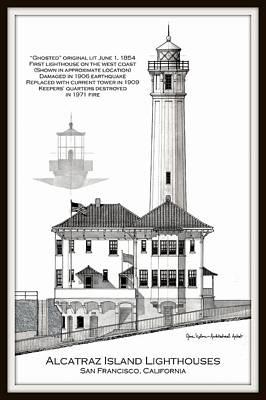 Alcatraz Island Lighthouses Art Print by Gene Nelson