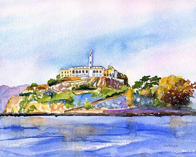 Painting - Alcatraz Island San Francisco Bay by Carlin Blahnik CarlinArtWatercolor