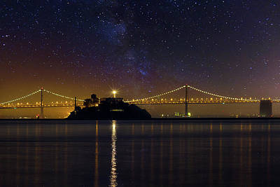 Alcatraz Island Under The Starry Night Sky Art Print by David Gn