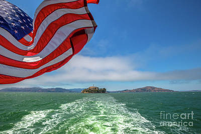 Photograph - Alcatraz Island With American Flag by Benny Marty