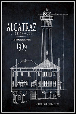 Navigation Digital Art - Alcatraz Lighthouse 1909 Blueprint Minimal by Daniel Hagerman