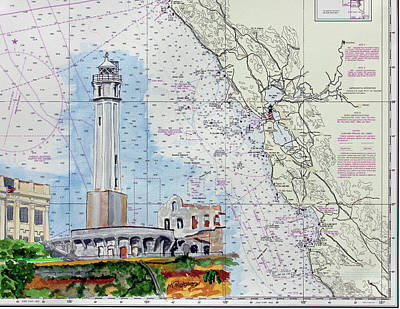 Painting - Alcatraz Lighthouse by Mike Robles
