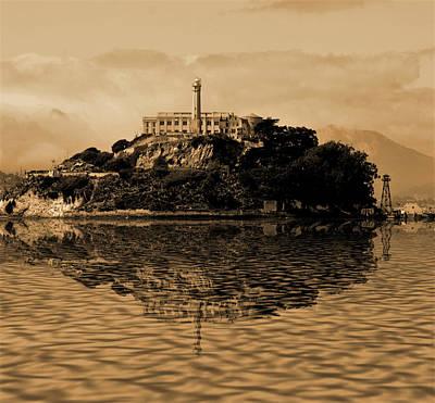 Bay Area Digital Art - Alcatraz Reflection by Michael Bergman