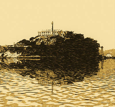 Bay Area Digital Art - Alcatraz Sketch by Michael Bergman