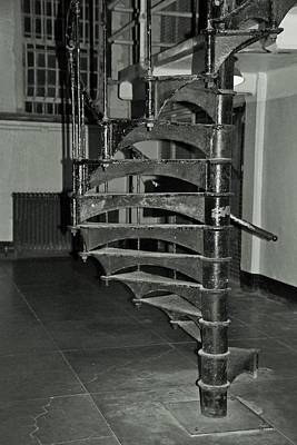 Black White Photograph - Alcatraz Stairs In Bw by Michiale Schneider