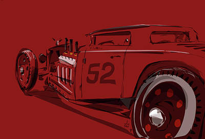 Old Car Drawing - Alchemy Red by Jeremy Lacy