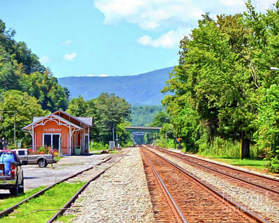Photograph - Alderson Train Depot And Tracks Alderson West Virginia by Kerri Farley