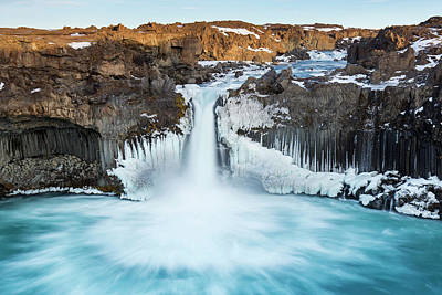 Photograph - Aldeyjarfoss Waterfall In Winter by Arterra Picture Library