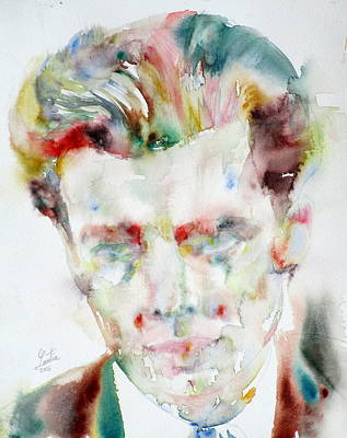 Aldous Huxley - Watercolor Portrait.3 Art Print by Fabrizio Cassetta