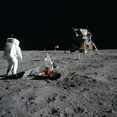 Aldrin Looks Back At Tranquility Base  Art Print by Paul Fearn