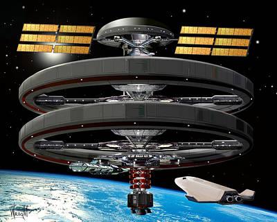 Rocketship Digital Art - Aldrin Station by Bill Wright