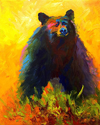 Alert - Black Bear Art Print by Marion Rose