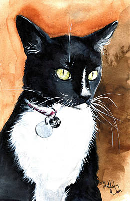 Painting - Alert Tuxedo Cat Portrait by Dora Hathazi Mendes