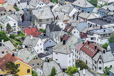 Photograph - Alesund roof patchwork by Paolo Sirtori