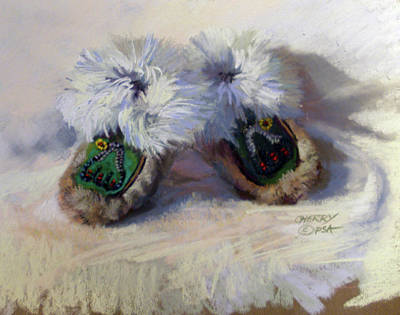 Aleut Painting - Aleut Baby Moccassins by Mary Ann Cherry