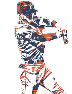 Mixed Media - Alex Bregman Houston Astros World Series Homerun by Joe Hamilton