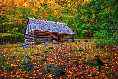 Alex Cole Cabin At Jim Bales Place, Roaring Fork Motor Trail In The Smoky Mountains Tennessee Art Print