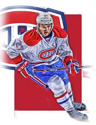 Montreal Canadiens Mixed Media - Alex Galchenyuk Montreal Canadiens Oil Art by Joe Hamilton