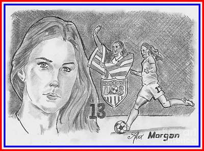 Drawing - Alex Morgan by Chris DelVecchio