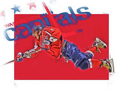 Mixed Media - Alex Ovechkin Washington Capitals Oil Art 2 by Joe Hamilton