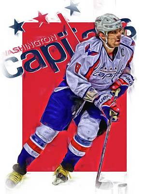 Mixed Media - Alex Ovechkin Washington Capitals Oil Art 3 by Joe Hamilton