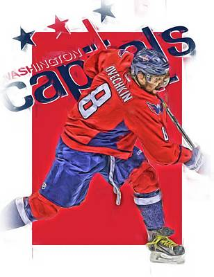 Mixed Media - Alex Ovechkin Washington Capitals Oil Art by Joe Hamilton