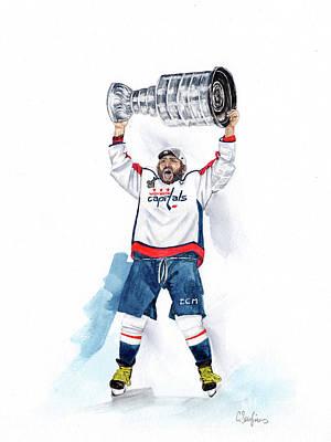 Alex Oveckhkin Stanley Cup Win Art Print by Caroline Serafinas