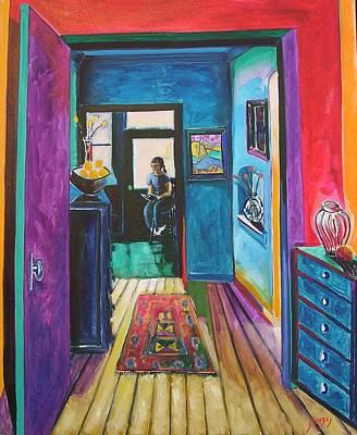 Alex Reading Art Print by Erik Slutsky
