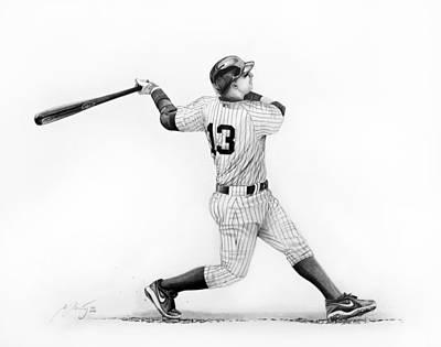 New York Yankees Drawing - Alex Rodrigues Baseball Player by Miro Porochnavy