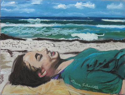 Painting - Granddaughter Alex At A Gulf Coast Beach, Florida by Dana Schmidt