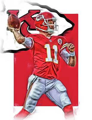 Team Mixed Media - Alex Smith Kansas City Chiefs Oil Art by Joe Hamilton