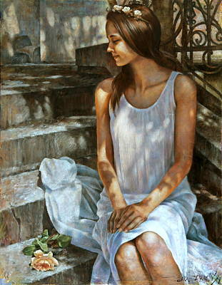 Painting -  Alexa With A Rose by Arthur Braginsky