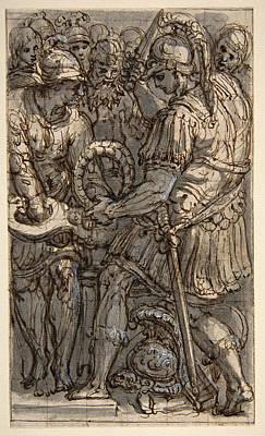 Perino Del Vaga Drawing - Alexander Cutting The Gordian Knot by Perino del Vaga