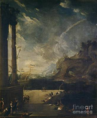 Aeneas Painting - Landscape With Aeneas Output Port Of Carthage by MotionAge Designs