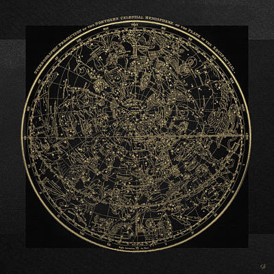 Digital Art - Alexander Jamieson's Celestial Atlas - Northern Hemisphere Gold On Black Edition by Serge Averbukh