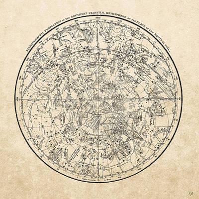 Digital Art - Alexander Jamieson's Celestial Atlas - Southern Hemisphere  by Serge Averbukh