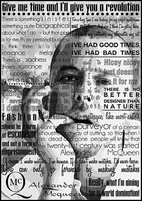 Celebrities Painting - Alexander Mcqueen Fashion Motivational Inspirational Independent Quotes by Diana Van