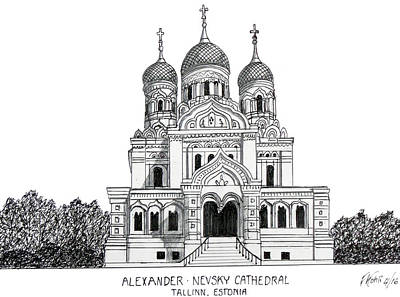 Drawing - Alexander Nevsky Cathedral by Frederic Kohli