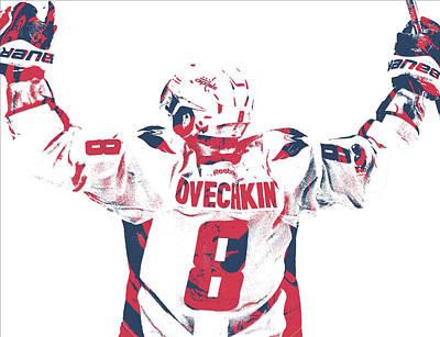 Hockey Mixed Media - Alexander Ovechkin Washington Capitals Pixel Art 9 by Joe Hamilton