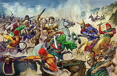 King Of The Persians Painting - Alexander The Great At The Battle Of Issus  by Peter Jackson