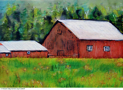 Wine Country Watercolor Painting - Alexander Valley-red Barn by Gary R Caldwell