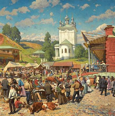Market Day Painting - Alexander W Makowski Market Day In Plyos by MotionAge Designs