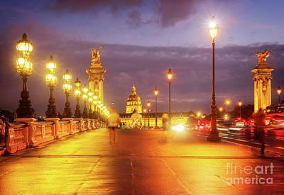 Photograph - walking on Alexandre III Bridge by Anastasy Yarmolovich