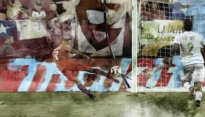 Soccer Painting - Alexis Sachez Copa America 2016 by Jani Heinonen