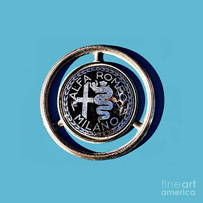 Photograph - Alfa Emblem On Blue by Tom Griffithe