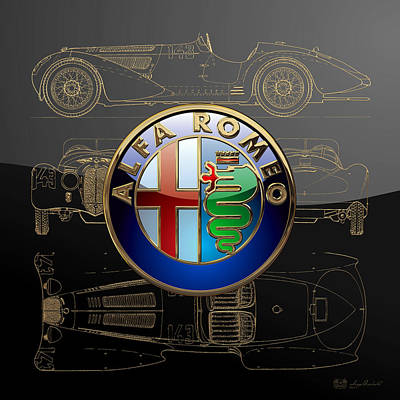 Digital Art - Alfa Romeo 3 D Badge Over 1938 Alfa Romeo 8 C 2900 B Gold Blueprint Special Edition by Serge Averbukh