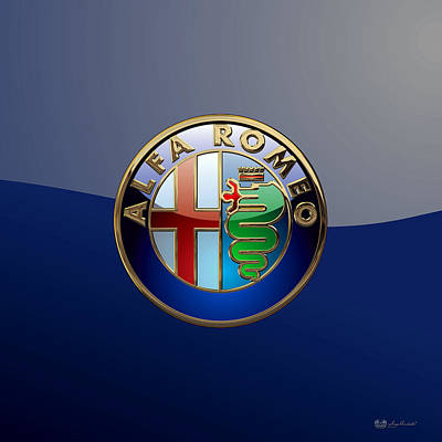 Digital Art - Alfa Romeo 3 D Badge Special Edition On Blue by Serge Averbukh