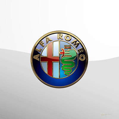 Digital Art - Alfa Romeo 3 D Badge Special Edition On White by Serge Averbukh