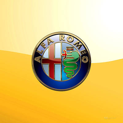 Digital Art - Alfa Romeo 3 D Badge Special Edition On Yellow by Serge Averbukh